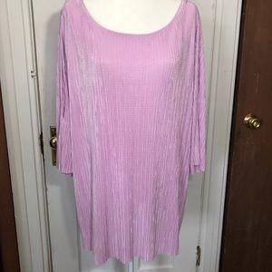 Simply Emma 2X Tunic Top Orchid Pink Cold Shoulder